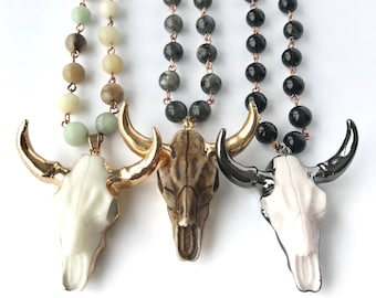 Yellow and royal blue longhorn cow skull Handmade beaded western necklace
