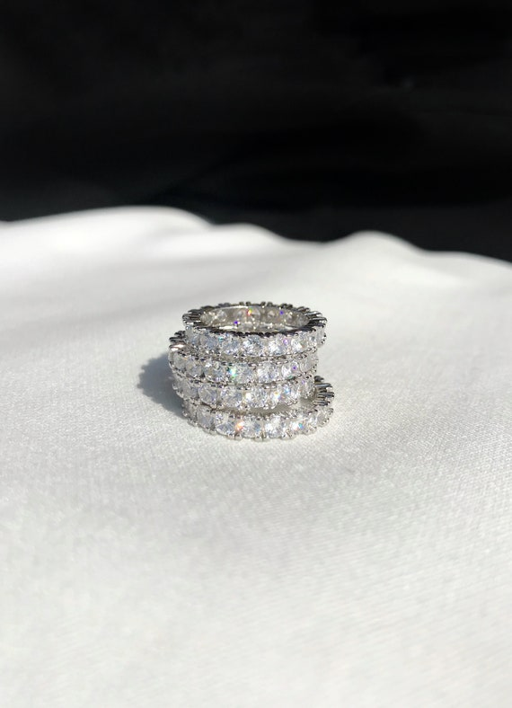 Baguette Ring Eternity Ring Eternity Band All Over Crystal Ring Gold Ring Silver Ring Platinum Ring Luxury Ring Stacking Ring Diamond Ring by Etsy