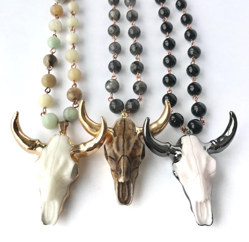 Bull skull necklace Bull skull pendant Steer necklace Long image 0