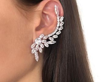 Crystal Ear climber earrings Ear crawler earrings Crystal ear cuff Asymmetrical earrings  Climbing earrings Bridal earrings Luxury ear cuff