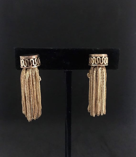 Vintage Goldtone Chain Statement Earrings