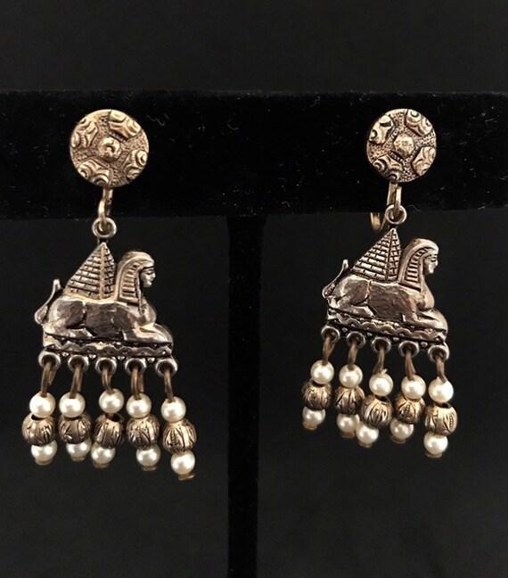 Vintage Egyptian Hanging Sphinx Statement Earrings