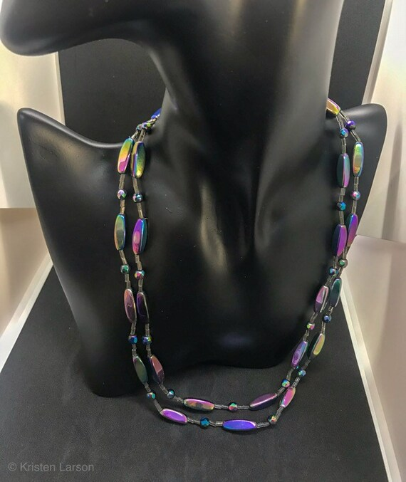 Vintage Signed WESTERN GERMANY Black Aurora Borealis necklace