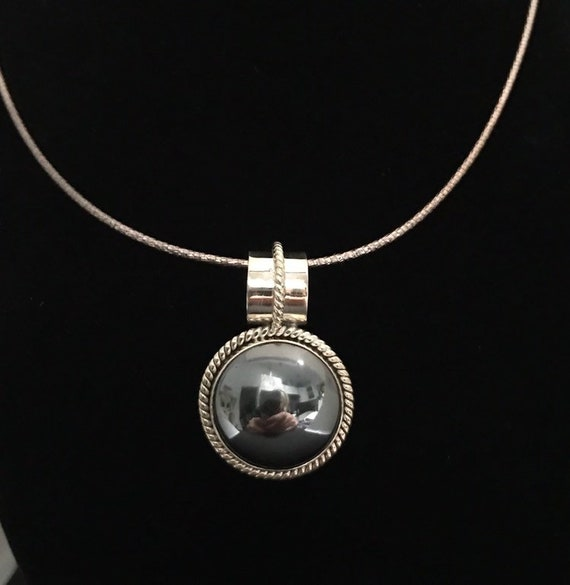 Hematite Cabachon wrapped in Silver Pendant