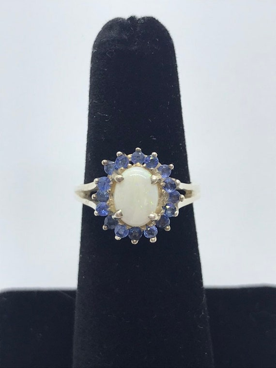 Opal with Sapphire Silver Ring