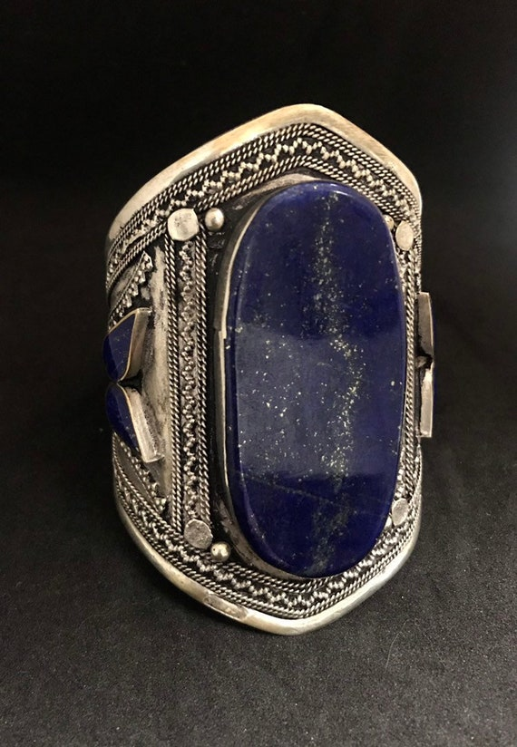 Bohemian Cuff Bracelet with Blue Stones