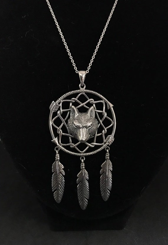 Wolf Dream Catcher Necklace with pendant