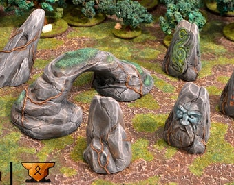 Set of 7 varied rock formations perfect for medieval, fantasy villages and other tabletop scenery