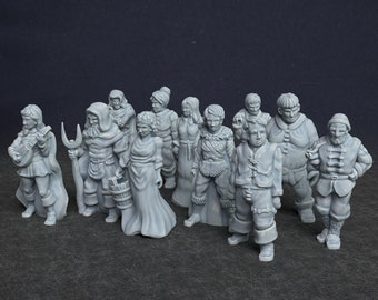 Resin D&D Townsfolk Personalities Set 28mm Scale. Dungeons and Dragons miniatures set   DnD miniatures set   Towns People NPCs   Villagers