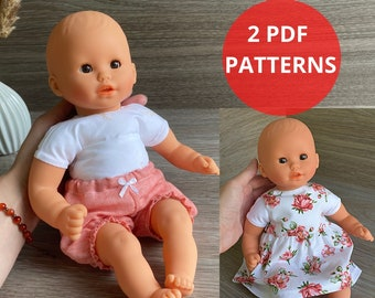 Sewing pattern, baby doll clothes 12 inch, 2 pdf atterns: dress and bloomers
