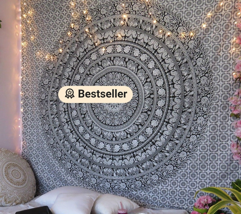 Black & White Multi tapestry Wall Hanging Mandala tapestries Black And White