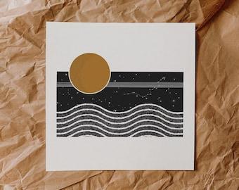 The Moon and Her Waves || Art Print || Vintage Inspired Art || Inspirational Art || Boho Art Print