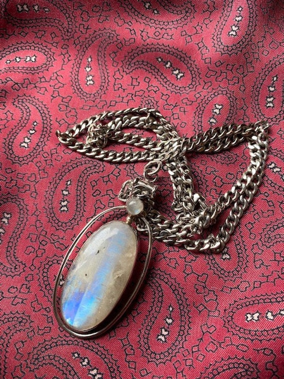 Stunning vintage sterling silver and moonstone cabochon statement pendant.