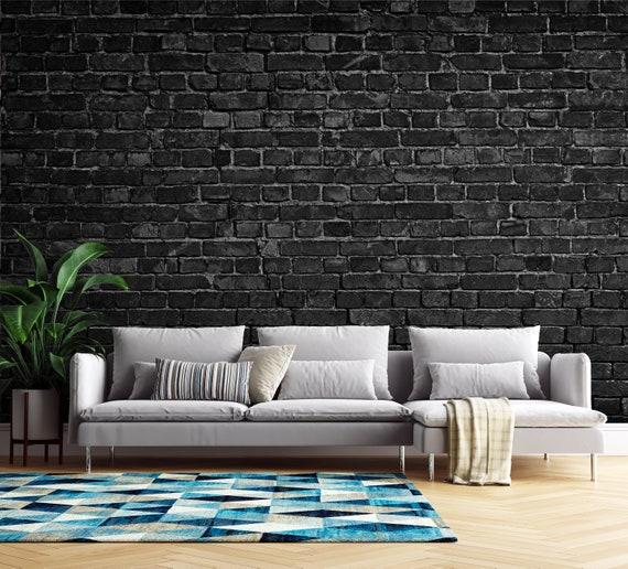 black brick wallpaper modern wallpaper minimalistic wallpaper abstract wallpaper geometric pattern wallpaper removable wallpaper