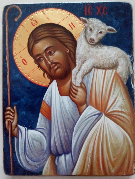 CHRIST THE GOOD SHEPHERD ICON Wood Egg Icon Jesus Genuine Russian Christmas GIFT