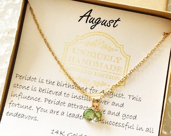 August Birthstone Necklace for Women Period Necklace for Virgo August Birthday Gifts for Leo Personalized Initial /& Birthstone