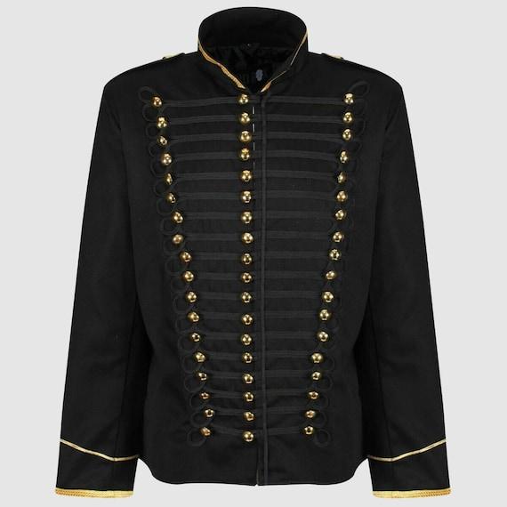 Zwarte Hussar Steampunk katoen Parade jas, zwarte militaire jas, zwarte mens Steampunk jas