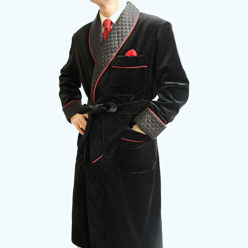 1930s Men's Fashion Guide- What Did Men Wear? Smoking jacket Men Black Smoking Jacket Velvet Quilted Robe Designer Evening Gown Dinner Coat  quilted smoking jacket long gown velvet $138.33 AT vintagedancer.com