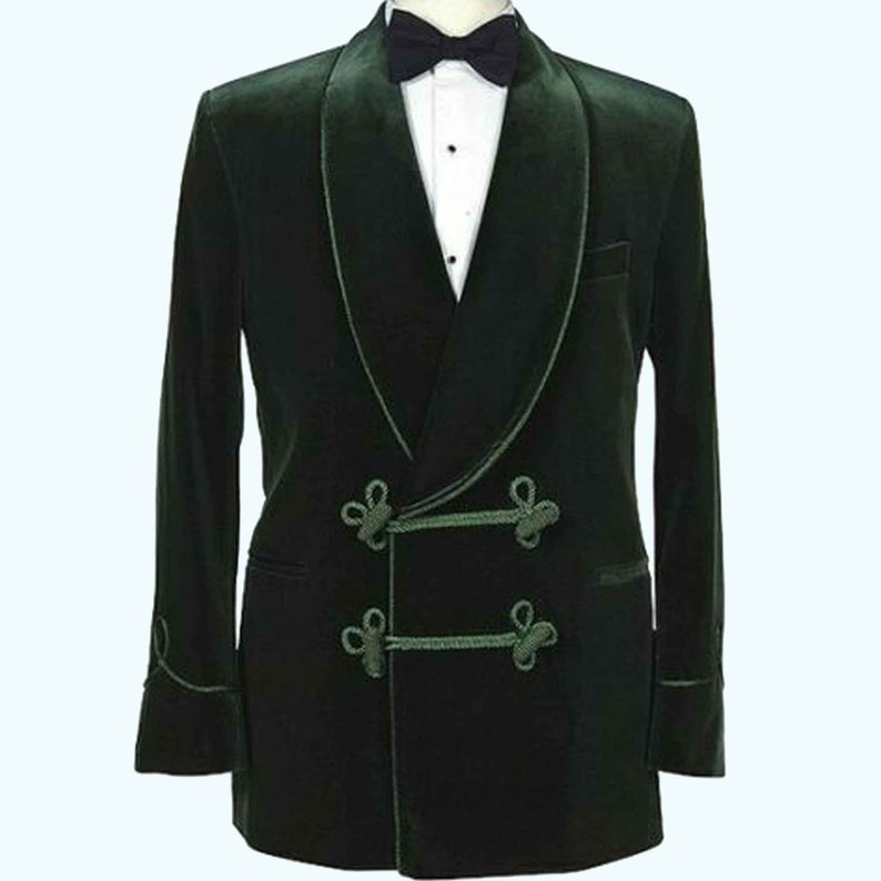Victorian Men's Clothing, Fashion – 1840 to 1890s Smoking jacket Men forest green Smoking Jacket Velvet Quilted Robe Designer Evening Gown Dinner Coat  quilted smoking jacket long gown $136.03 AT vintagedancer.com