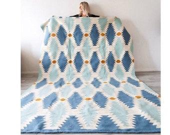 Handwoven Area Rug, handmade area rug, modern kilim rug, wool rug, livingroom & dining room rug, Runner rug, Boho Rug 7' X 10' , 8' X 10'