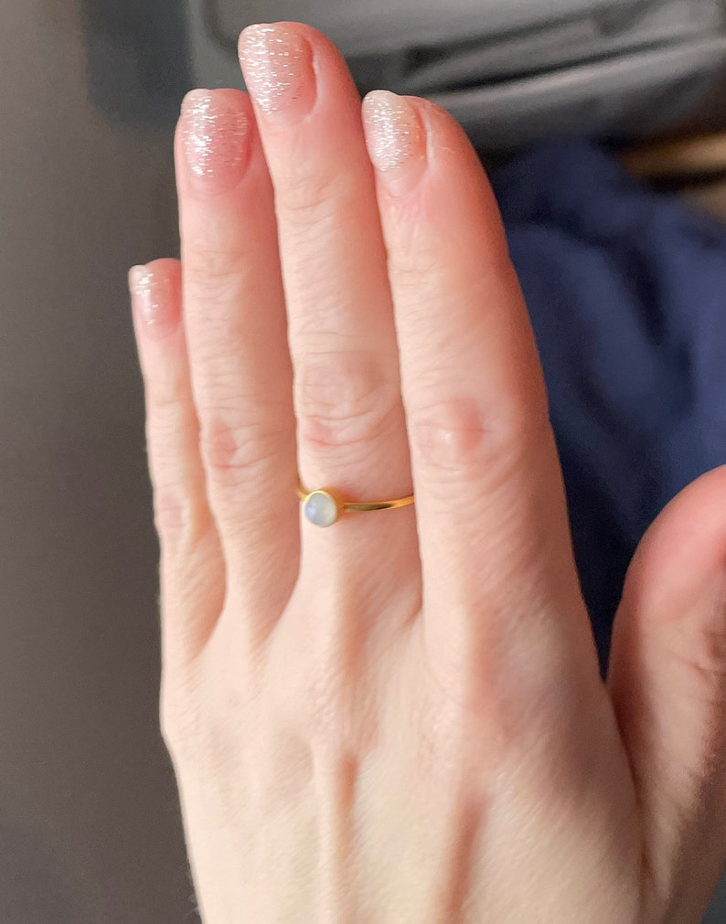 Adjustable Ring fits sizes 5-9 4mm Smooth Cabochon Gold Plated Stainless Steel Rainbow Moonstone Ring Made to Order.