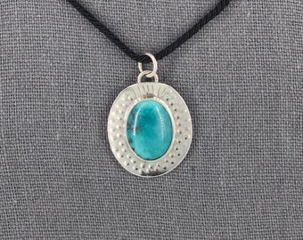Textured Silver Oval Pendant with Arizona Turquoise Cabochon, perfect for layering!