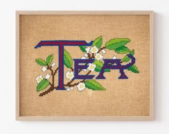 Antique Tea Label Cross Stitch PDF Pattern, Instant Digital Download