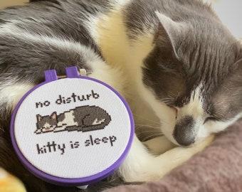 """No Disturb Sleeping Cat Cross Stitch PDF Pattern, """"Kitty Is Sleep"""", Instant Digital Download"""