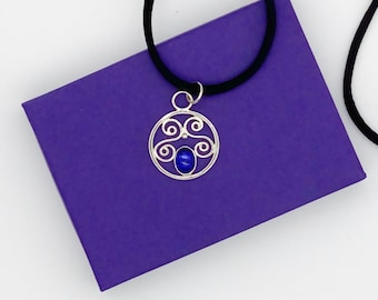 Silver Scroll Pendant with Lab Sapphire, Tarnish-Resistant Argentium Silver
