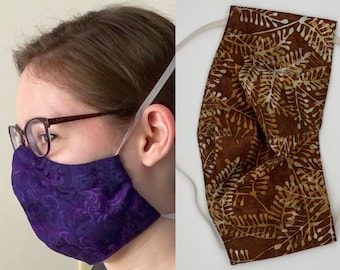 Won't Fog Glasses! Save Your Ears! Nose Pad! Double Layer Cotton face mask, machine washable and reusable, men/women/adult size MOCHA FERN
