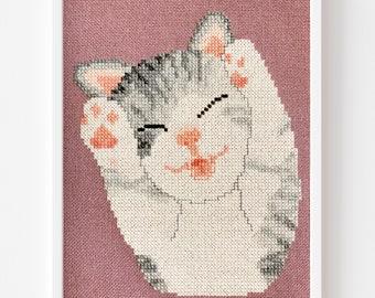 Tiny Kitty Blep Cross Stitch PDF Pattern, Instant Digital Download, Pattern Keeper compatible!