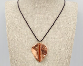 Hand-Forged Pure Copper Leaf Pendant Necklace, on Black Cord and in Gift Box, ready to gift!