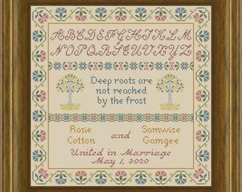 Deep Roots Sampler LOTR Hobbit Inspired Cross Stitch PDF Pattern, Primitive Antique Alphabet for Wedding/Marriage, Instant Digital Download