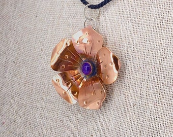 Pure Copper Flower Pendant Necklace, Hand-Forged and Textured, on Black Cord and in Gift Box, ready to gift!