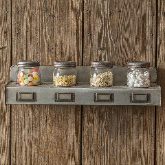 New Primitive Farmhouse  SET 3 SPICE CANISTER GLASS JAR METAL TRAY Wall Shelf