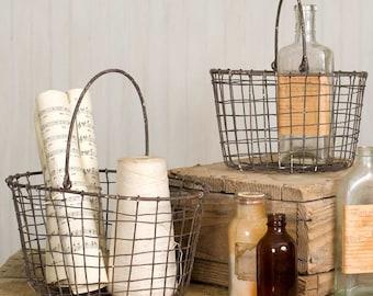 Set of Two Farmhouse Nesting Baskets, Gathering Baskets, Nesting Baskets with Handles