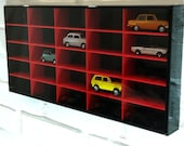 Display case cabinet for 25 models black - red for cars, small collections on the wall of acrylic face is removed