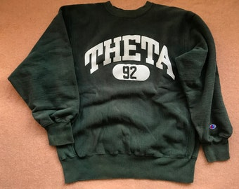 100% authentic b57ca 19944 Theta Sweatshirt – Reverse Weave by Champion – Vintage 1980s (late) – Size X -Large