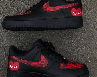 0a6a2ba7 Comme Des Garcons x Bape Nike Af1 AirForce 1s Sneakers Black And Red Custom  Hand Painted Af1 Camo Print cdg