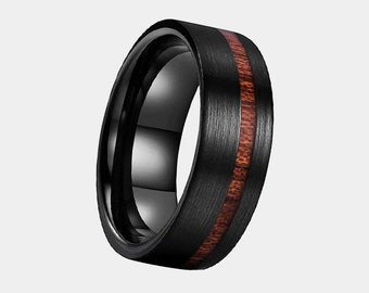 Tungsten 8mm Black Brushed Ring with Offset Koa Wood Inlay Polished Lining - Engraving Available