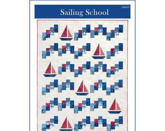 Precut Traditional pieced Quilt TOP KIT ~blue and gray nautical sailboats