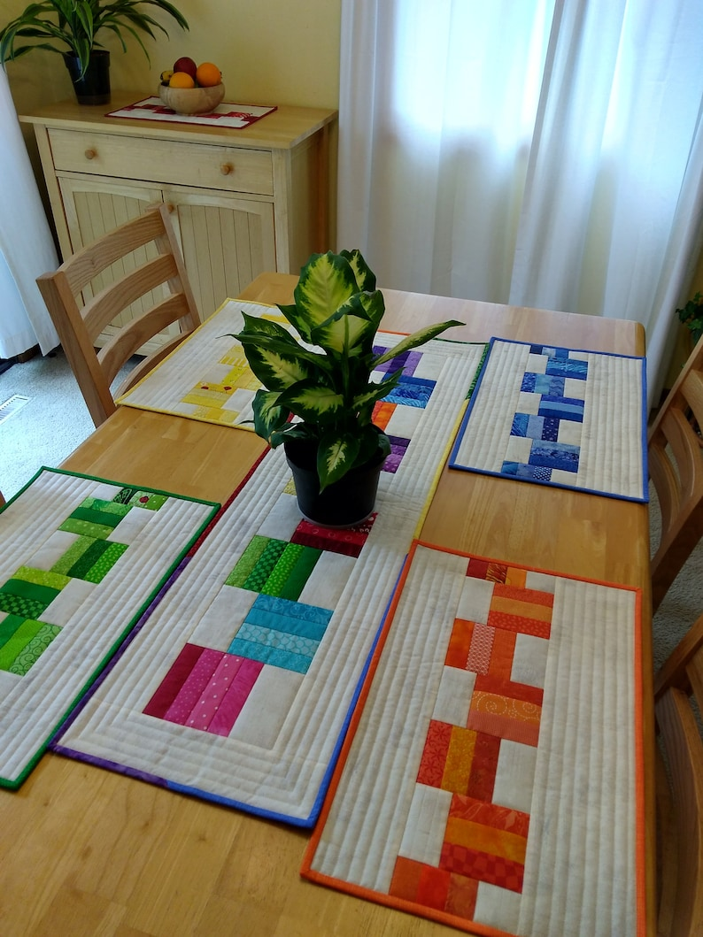 Leftovers Placemats and Runner pattern strip pieced placemats ...