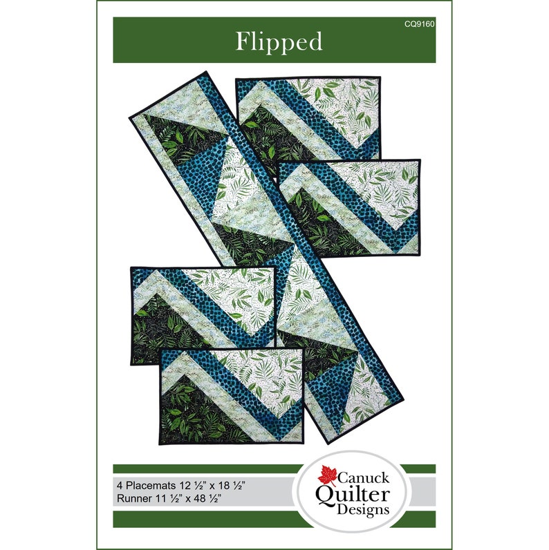Flipped Quilted Placemats and Runner Pattern image 0