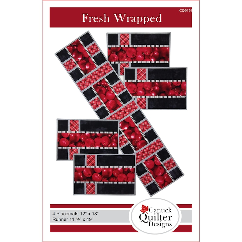 Fresh Wrapped Quilted Placemats and Runner Pattern / PDF image 0
