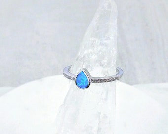 Ginger Lyne Collection Bonnie Purple Pear Shape CZ Simulated Blue Opal Ring