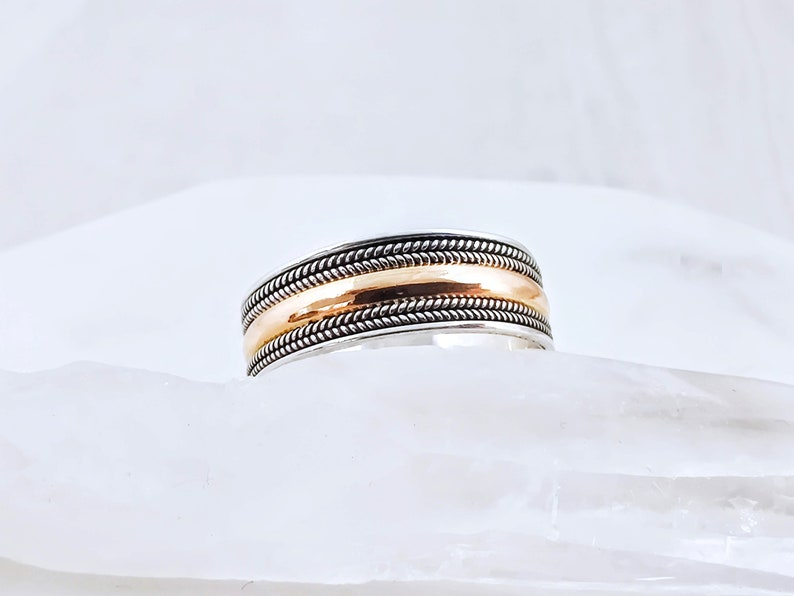 2 Tone 18k Gold /& 925 Silver Wedding Band Ring Two Tone Eternity Band Ring Men/'s Wedding Ring 2 Tone Infinity Solid Gold and Silver Ring