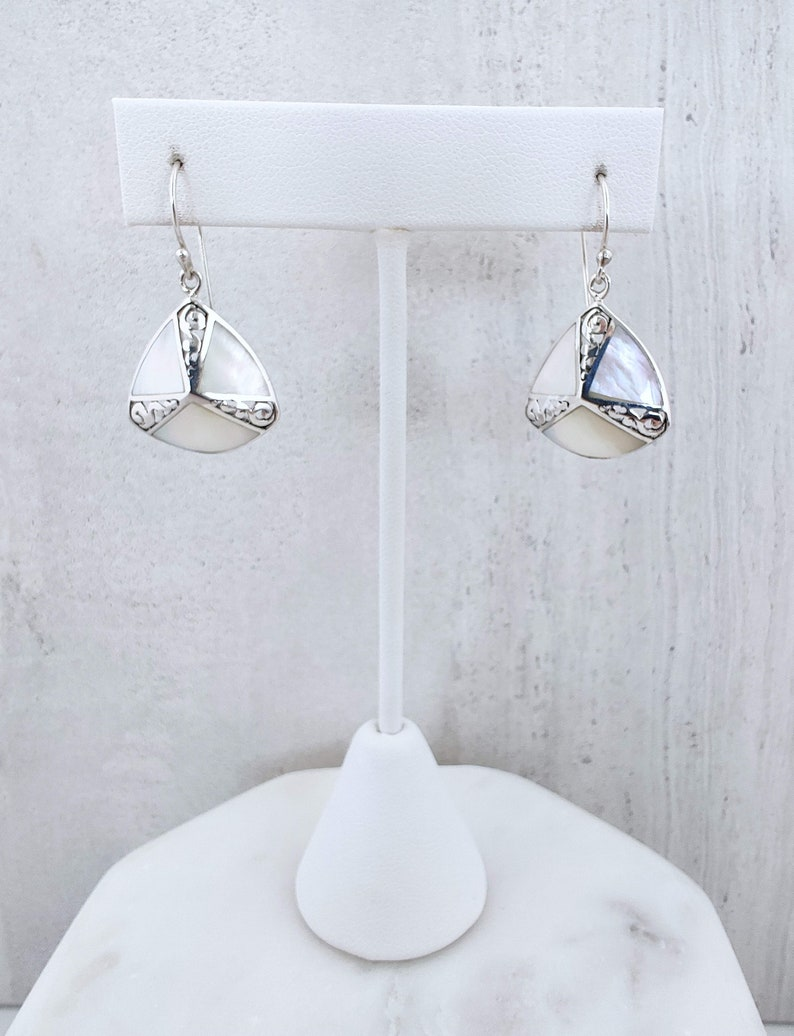 Mother of Pearl Shield Silver Drop Earrings Art Deco Triangle Silver Dangle Earrings Gift, White Shell 925 Sterling Silver Jewelry