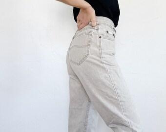 499254a2 ON SALE \\\ vintage LEE denim jeans | 90s | high waist | mom jeans | tan |  light wash | size 6 medium