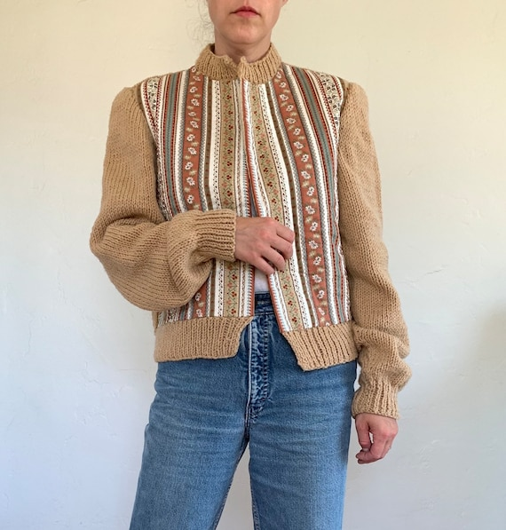 vintage 70s handknit quilted cardigan sweater | fl