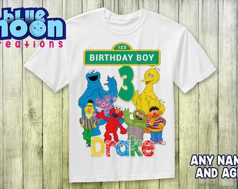 Custom Sesame Street Birthday T Shirt Elmo